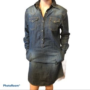 WRANGLER cotton long sleeve denim shirt dress